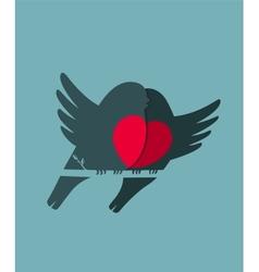 Bullfinch Birds Heart Love Couple Sitting on Twig vector image vector image