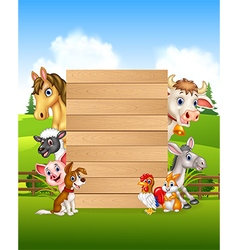 Cartoon farm animals holding wooden sign vector
