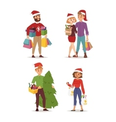 Christmas shopping people vector image