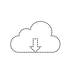 Cloud technology sign black dashed icon vector