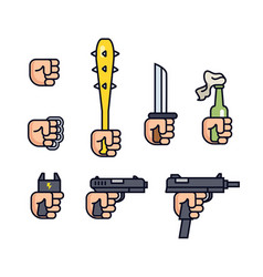 cold weapon and firearms collection weapons in vector image