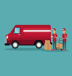color background with men worker with truck and vector image