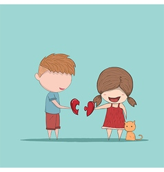 Cute cartoon boy and girl couple vector image vector image