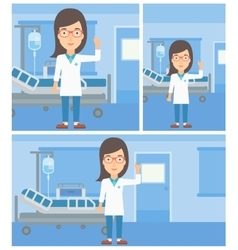 Doctor showing finger up vector image vector image