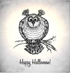 Frightened owl in a sketch style vector image vector image