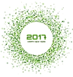 Green circle new year 2017 frame white background vector