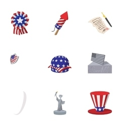 Holiday of USA icons set cartoon style vector image vector image