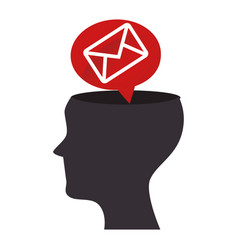 Human profile with envelope isolated icon vector