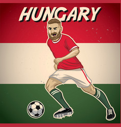 Hungary soccer player with flag background vector