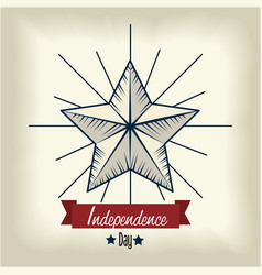 Independene day with star and ribbon decoration vector