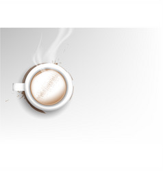 Isolated cup of coffee collection latte cinnamon vector