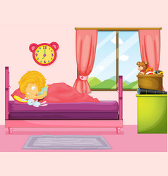 Little girl sleeping in bedroom vector