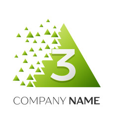 Number three logo in the colorful triangle vector