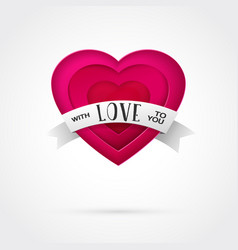 Pink paper love heart with ribbon vector