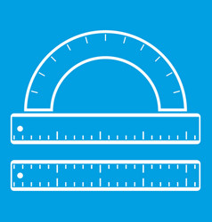 Ruler and protractor icon white vector