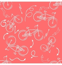 Seamless bicycles pattern white icons on red vector image vector image