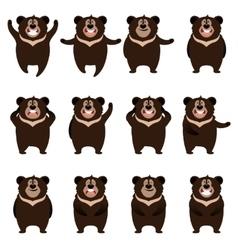 Set of flat moon bear icons vector image