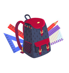 Side view on fashionable model of kids backpack vector