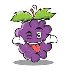 Tongue out with wink grape character cartoon vector