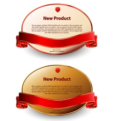 Two oval labels with red ribbons vector image
