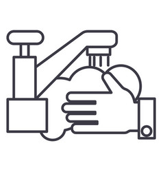 washing handswash crane line icon sign vector image