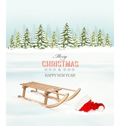 Winter Christmas background with a sleigh and a vector image vector image