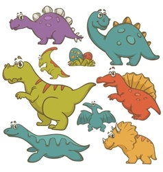 Dinosaur cartoon collection set vector