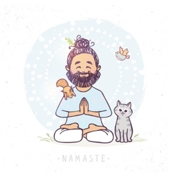 yoga man and animals vector image