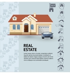 House facade car and real vector