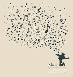 Silhouette various musical notes and people dance vector image