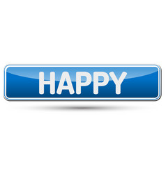 happy - abstract beautiful button with text vector image