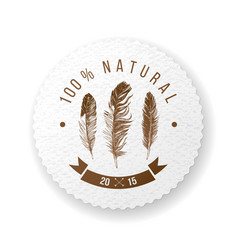 Round paper emblem with feathers and type design vector
