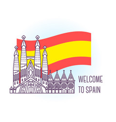 Catholic cathedral barcelona landmark symbol of vector