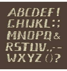 Handwritten chalk alphabet on brown background vector