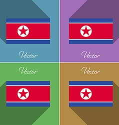 Flags korea north set of colors flat design and vector