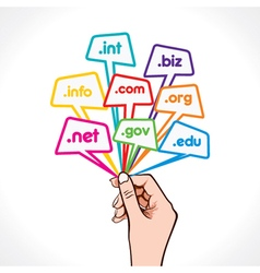 domain name in hand vector image