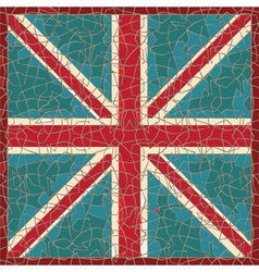 cracked colored fresco with great-britain flag vector image