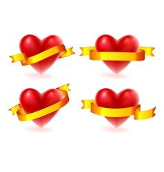 hearts with ribbon vector image