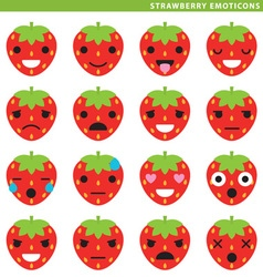 Strawberry emoticons vector