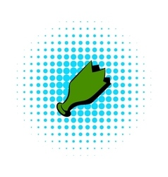 Shattered green bottle icon comics style vector