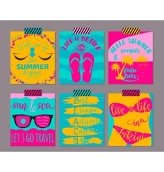 Set of bright summer cards beautiful vector