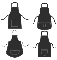 Black apron set isolated on white vector