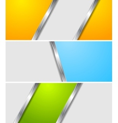 Abstract colourful metallic banners vector