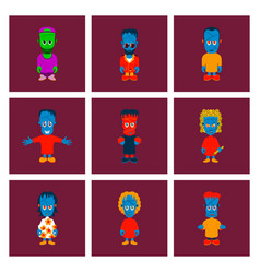 assembly flat zombie family vector image