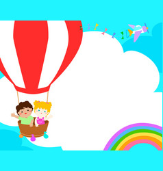 Blank template happy kid in the balloon poster vector