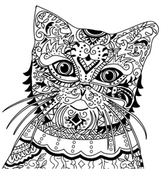 Cat head with vintage ornate vector