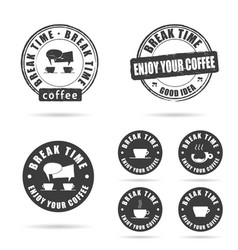coffee break icon with grunge rubber set vector image vector image