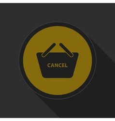 Dark gray and yellow icon - shopping basket cancel vector