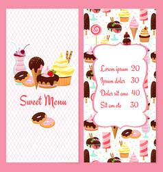 Dessert menu template vector image vector image