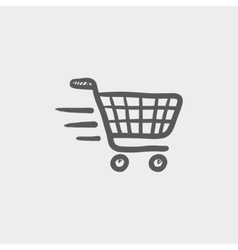 Fast delivery shopping sketch icon vector
